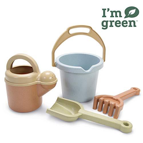 Dantoy - Bio Juguete Juego de cubeta y pala de 4 piezas, juguetes respetuosos con el medio ambiente hechos de caña de...