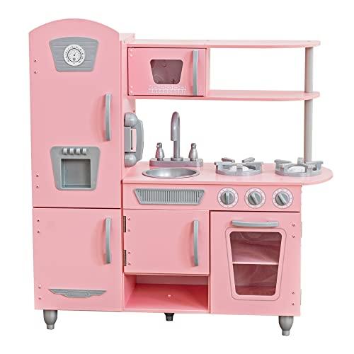 KidKraft 53179 Cocina de juguete con diseño Vintage de madera para niños con teléfono de juguete incluido - Rosa