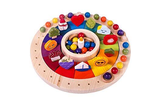 Calendario Anual para Ñiños Waldorf Montessori con figuras en madera 33 cm, Juego Educativo para Aprender el Paso del...