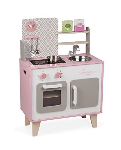 Janod- Macaron Cocina de Juquete, Color rosado y blanco, 53 x 30 x 78 cm (Jura Toys J06567)