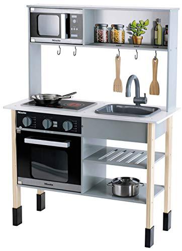 Theo Klein 7199 Cocina Miele, Cocina blanca de madera que incluye placa de cocción con luz y sonido, Medidas: 70 cm x...