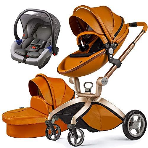 Cochecito de bebé Hot Mom 3 en 1 con Sillas de paseo, 2021 New Lifestyle F22 con 3 piezas - MARRON 3-1