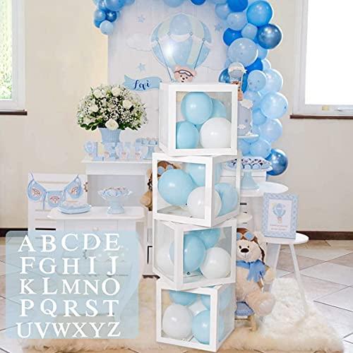 Decoraciones de fiesta de cumpleaños para baby shower para niños y niñas - 4 cajas de globos transparentes blancas...