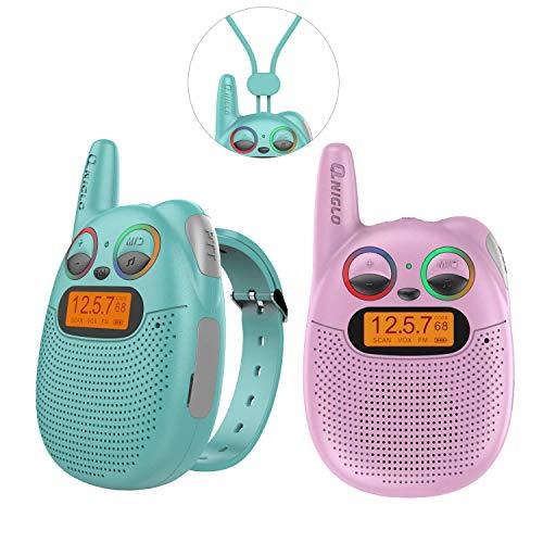 QNIGLO Q136 Walkie Talkie Niños Recargable,Radio FM Alcance de 2 Km Ojos LED Parpadeantes Correa Portátil de...