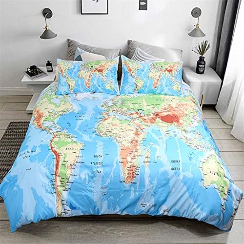 3 piezas Mapa del mundo Funda nórdica con 2 fundas de almohada Juego de cama impreso Ocean Blue y Yellow Land con...