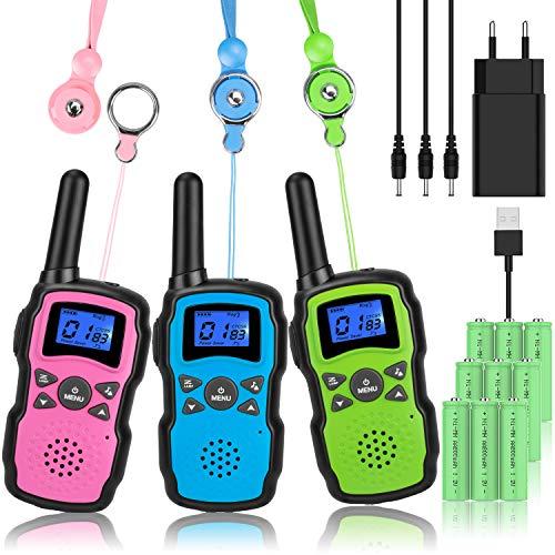 Wishouse M8 Walkie Talkie Niños Bateria USB Recargable, Adultos Walky Talky 3 Piezas Largo Alcance, Cámping Juegos...