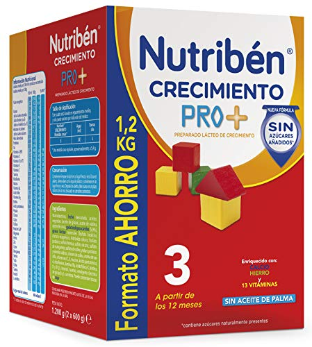 Nutribén Crecimiento ProAlfa 3 Leche en polvo de Crecimiento para bebés- A partir de 12 meses- Formato ahorro 1 unidad...