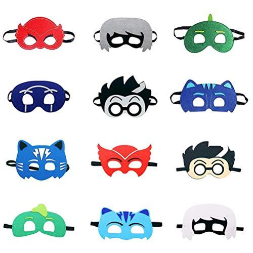 12PCS Máscara de fiesta infantil PJ Máscaras De Superhéroe Juguetes Cuerda Elástica Máscaras De Ojos Para La Fiesta...