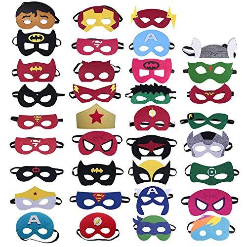 Yidaxing 35 Piezas Máscaras de Superhéroe, Máscaras de Fieltro Mitad Máscara de Cosplay con Cuerda Elástica...