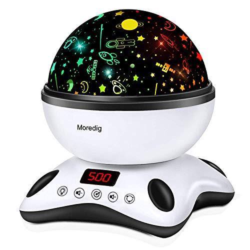 Moredig Lámpara Proyector Estrellas, 360° Rotación Músic Lampara con Temporizador led Pantalla y Control Remoto, 8...