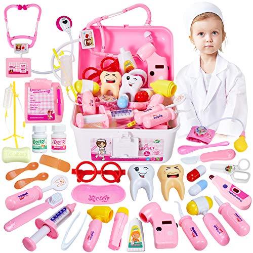 HERSITY 35 Piezas Maletin Medicos Enfermera Disfraz Juguete Doctora Juegos de Imitacion Regalos para Niñas Niños 3 4 5...