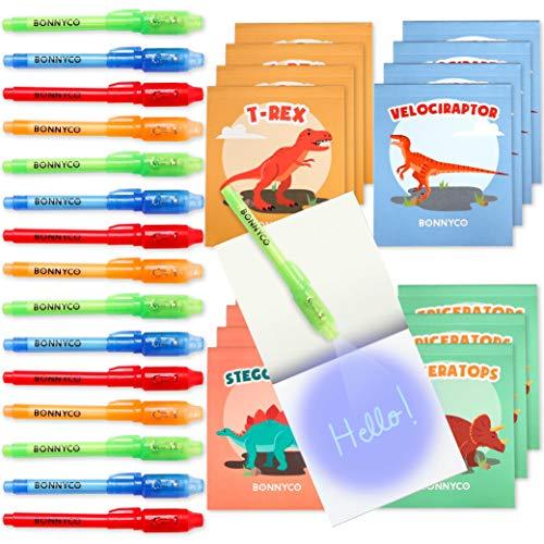BONNYCO Bolígrafo Tinta Invisible y Libreta Dinosaurios Pack x16 Detalles Cumpleaños Niños, Regalos Cumpleaños...