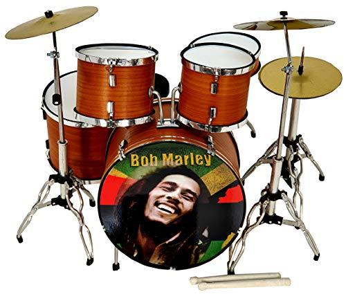 MINIATURA BATERÍA ACUSTICA NOGAL SATINADO MDR-0107 BOB MARLEY REGALO MUSICAL ROCKMUSIC