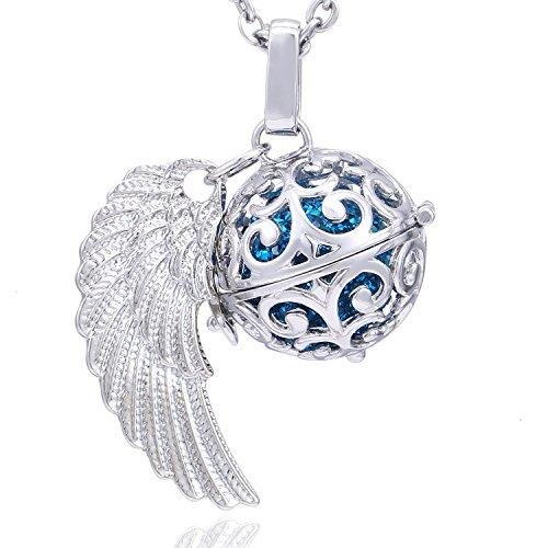Morella Collar ángel de la Guarda de Acero Inoxidable 70 cm con Colgante alas de ángel y Bola de resonancia de Color...