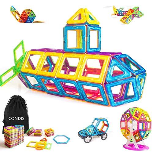 Condis 95 Piezas Bloques de Construcción Magnéticos para Niños, Juegos de Viaje Construcciones Magneticas Imanes...