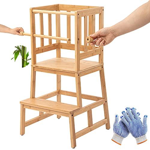 COSYLAND Taburete de Torre de Aprendizaje de Bambú con Barra de Seguridad para Niños de 18 Meses a 3 Años para...