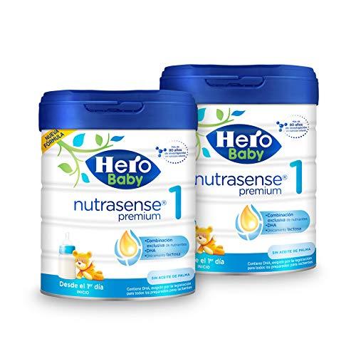 Hero Baby Nutrasense Premium 1 - Leche de Inicio en Polvo para Bebés hasta los 6 Meses, Crecimiento y Desarrollo - Pack...