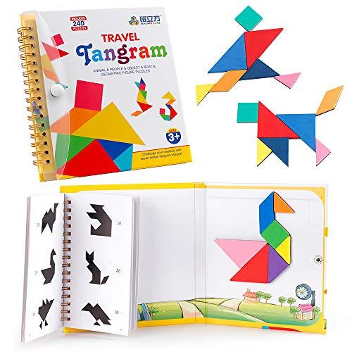 Coogam  Viajes Tangram Puzzle con 3 Set de  Tangram magnético - Viaje Tangos Rompecabezas  Formas Disección...