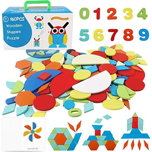 StillCool Tangram de Madera, 160 PZS Puzzle Juguete Infantil de Montessori Educativo y Inteligencia de Desarrollo con...