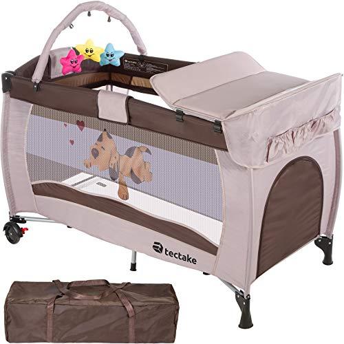 TecTake Cuna infantil de viaje de altura ajustable con acolchado para bebé - disponible en diferentes colores - (Coffee...