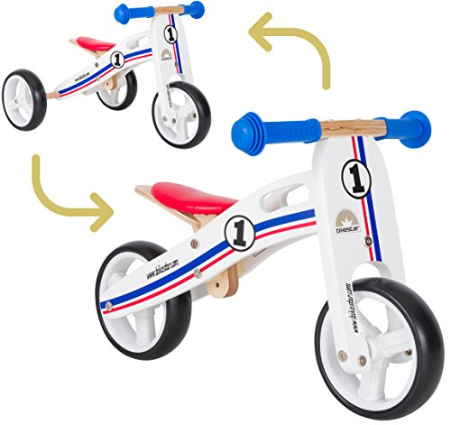 BIKESTAR 2 in 1 Bicicleta sin Pedales Madera para niños y niñas Bici Ajustable 7 Pulgadas | Bicicleta y Triciclo Mini...