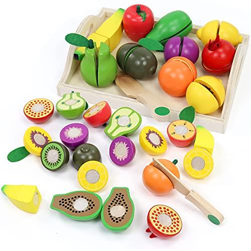 yoptote Frutas de Madera Cortar Frutas Surtido Verduras Juguetes Montessori Comida Madera Cocinas de Juguete para Niños...