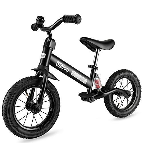 besrey Bicicleta sin Pedales Rueda de Goma Inflable Bicicleta Sin Pedales con Amortiguador Central - Negro