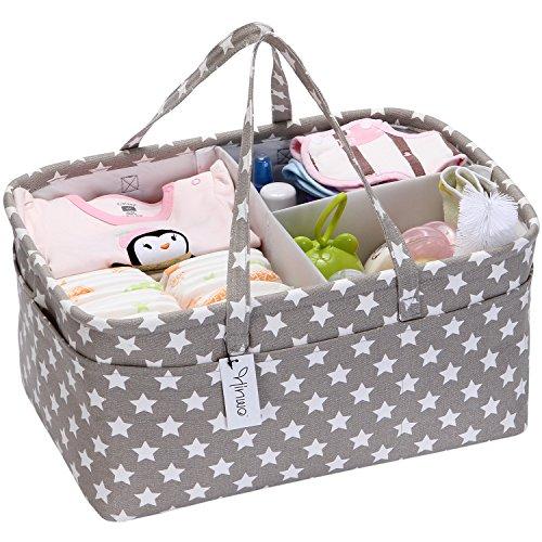 Hinwo - Cesta para pañales de bebé, 3 compartimentos, organizador portátil para el coche, cesta de regalo para...