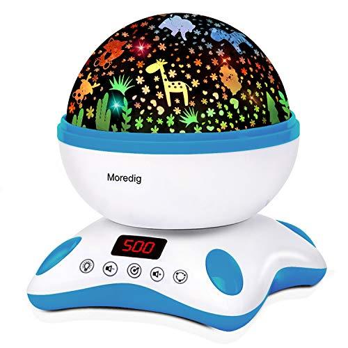 Moredig Proyector Estrellas Bebé, Lámpara Proyector Infantil Luz Nocturna con Rotación y Música, Función de...