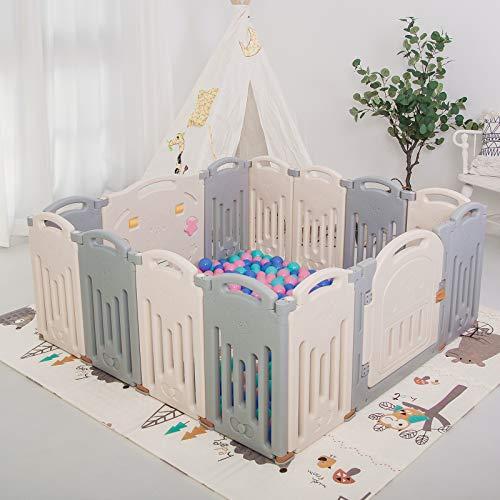 Parque infantil plegable para niños, centro de actividades de seguridad, patio, hogar, interior y exterior (14Panel...
