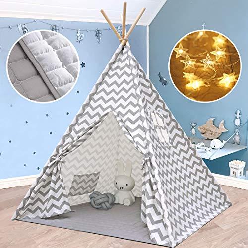 Tipi Infantil Tienda para niños con colchoneta Acolchada & Luz de hadas- Tienda de campaña para niños y niñas de...