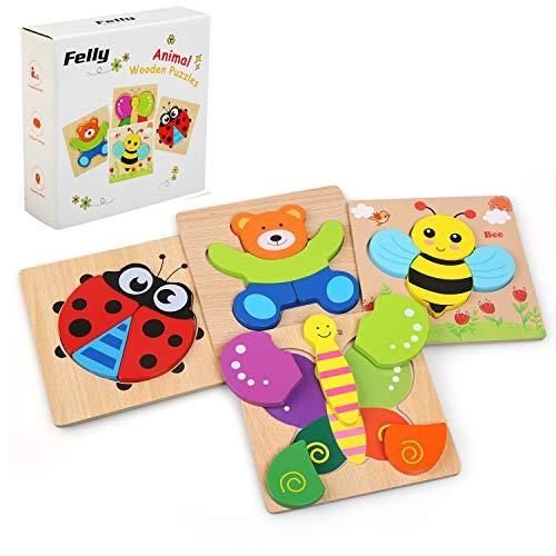 Felly Juguetes Bebes, Puzzles de Madera Educativos para Bebé, Juguetes niños 1 año 2 3 4 5 6 años, Dibujo de Animal...