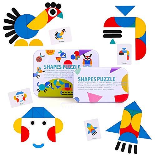 BBLIKE Tangram Madera, 36 Montessori Puzzle de Madera + 60 PCS Diseño Tarjetas de Apilamiento Juegos y Juguetes...