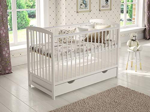 Cuna de madera para niños (blanco) con cajón 120 x 60 cm + colchón de espuma + barrera de seguridad de madera + funda...