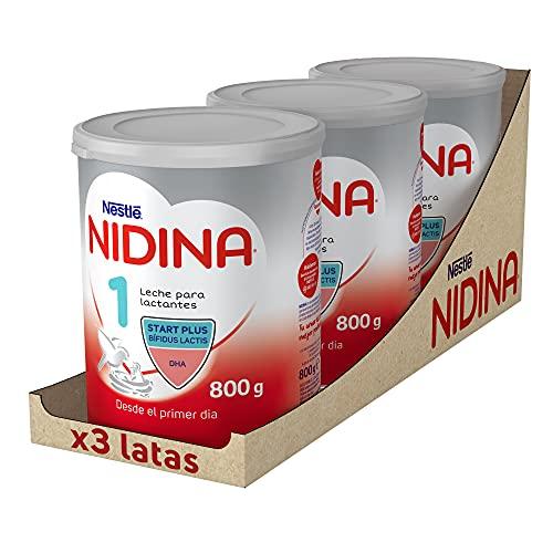 Nestlé NIDINA 1 - Leche para lactantes en polvo - Fórmula para bebés - Desde el primer día - pack de 3 latas x800 gr...