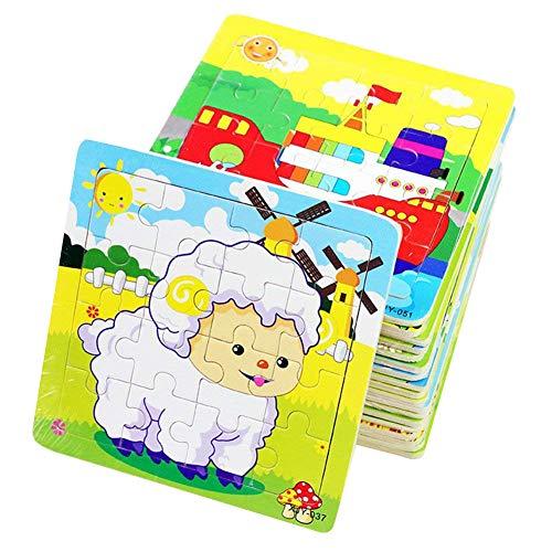 PROW®Rompecabezas de Madera 16 Piezas de niños Rompecabezas Elefante Panda Cachorro Pequeño Cordero Nave Tren Aviones...