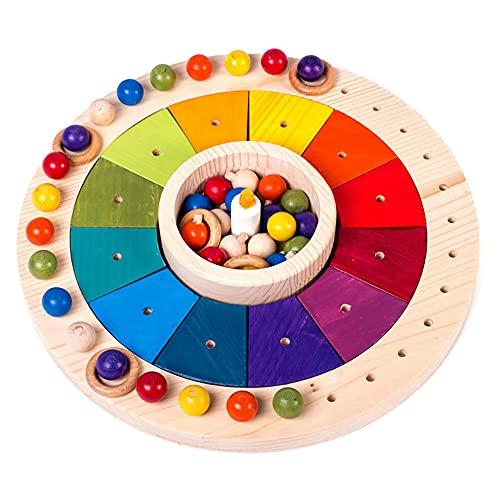 Calendario Waldorf Montessori en madera 33 cm, Juego Educativo para Niños, Juguete Didáctico para Aprender los Dias,...
