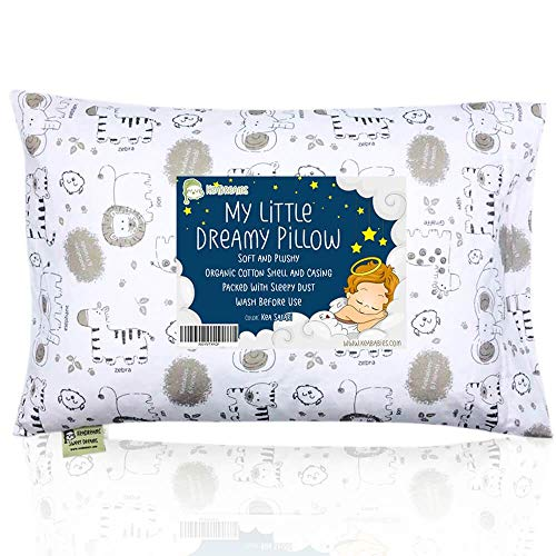 Almohada para niños con funda - Almohada para bebés de algodón orgánico suave 13x18 para dormir - Lavable e...