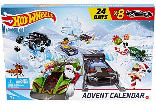 Hot Wheels- Calendario de adviento 24 días de Vacaciones llenos sorpresas con Coches y Accesorios (Mattel GJK02)