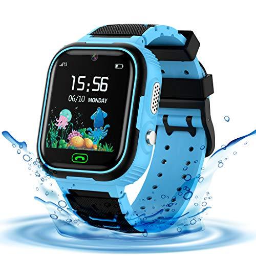 LDB Reloj Inteligente para Niños, SmartWatch Niños LBS Tracker SOS Impermeable Llamada Bidireccional cámara de 3-12...