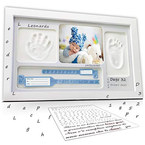 LALFOF® marco huellas bebe 7in1 Regalos originales para bebes recien nacidos con nombre personalizados,datos de...