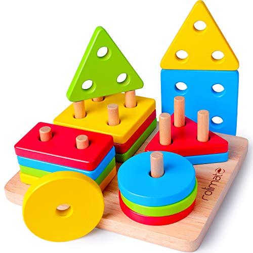 Rolimate Juguetes para Niños Pequeños Apilador Geométrico De Madera, Stack & Sort Board Tablero para Apilar y...