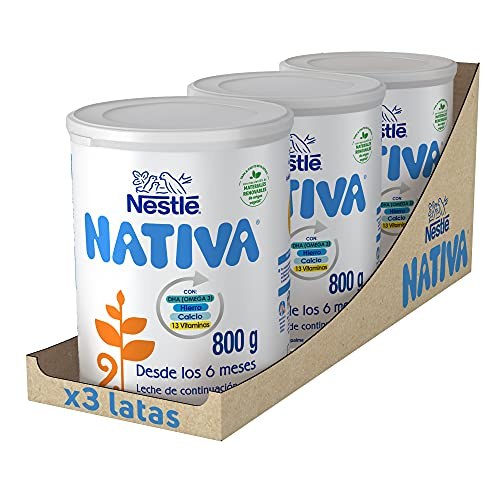 Nestlé NATIVA 2- Leche de continuación en polvo- Fórmula para bebés- A partir de los 6 meses - pack de 3 latas x800...