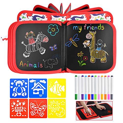 Queta Tabla de Dibujo Portátil para Niños, Bloc de Dibujo con 12 Lápices de Colores y 6 Plantillas Tablero de Dibujo...