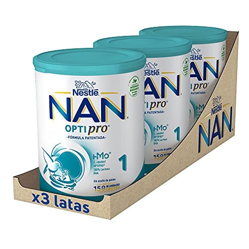 NAN - Optipro 1 Leche para lactantes en polvo, 3 latas x 800 g