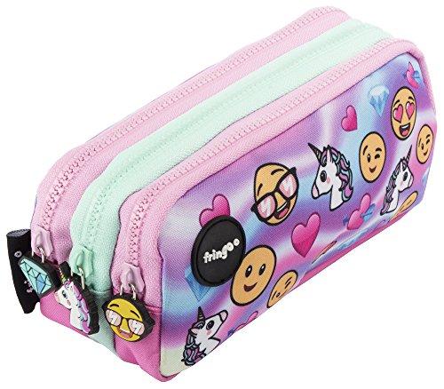Estuche para lápices de 3 compartimentos FRINGOO®, para niños, divertido y bonito, color Emoji Hologram - 3...