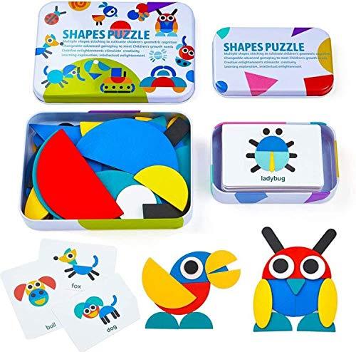 HDYZ Tangram de Madera, Tangram Shape Puzzle Set Montessori Shapes Puzzle de Madera Tangram Puzzle de Madera Montessori...