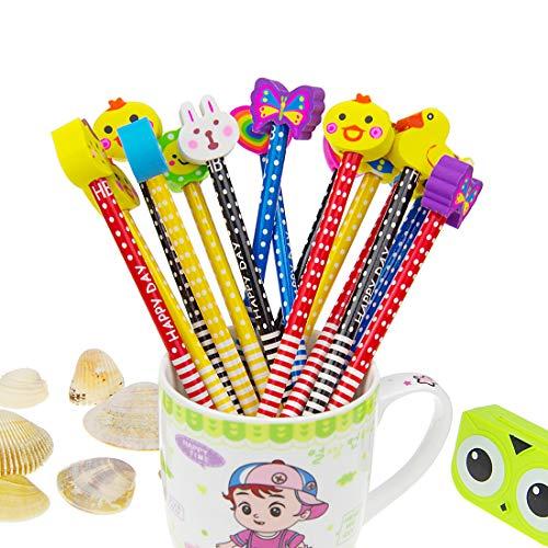 Conjunto de lápiz de dibujos animados, 40 piezas de lápiz de madera con lápices de color grafito de goma con...