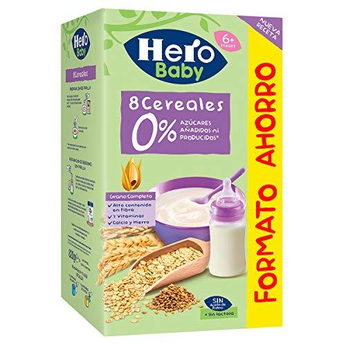 Hero Baby Papillas de Cereales Sin Azúcares Añadidos - Para Bebés a Partir de los 4 Meses - 820 g