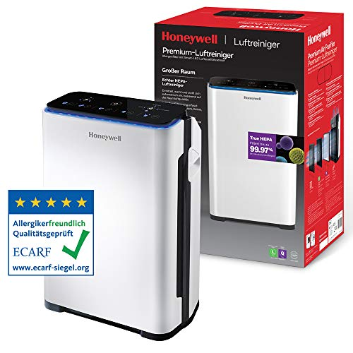 Purificador de aire Honeywell Premium (filtro True HEPA, sensor de alergias, de calidad del aire, CADR 204m3/h, filtrado...